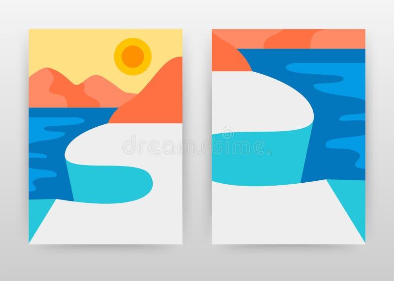 有太阳和冰川风景业务设计的布勒海年终报告的,小册子,飞行物,海报 晴朗的海洋风景 向量例证