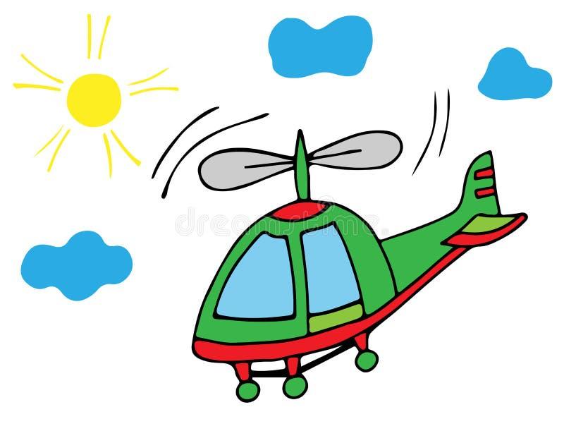 有太阳和天空的五颜六色的直升机 皇族释放例证