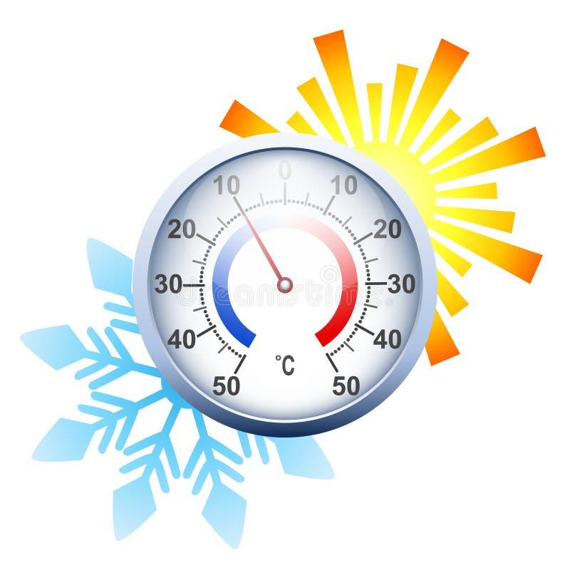 有太阳和雪花的摄氏圆的温度计 皇族释放例证