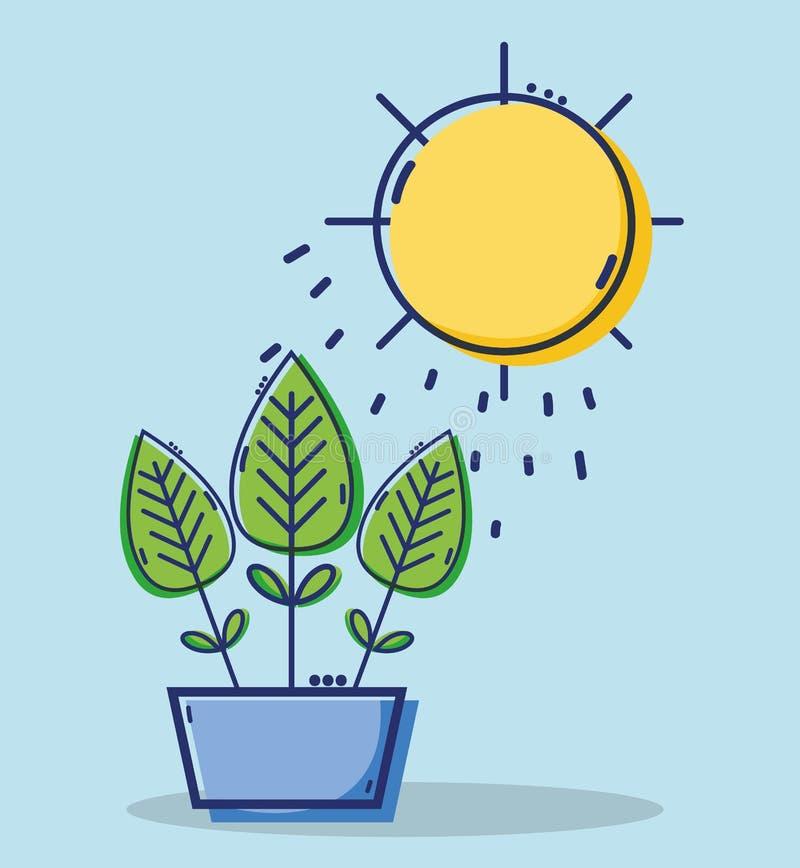 有太阳天气的线性叶子植物 向量例证