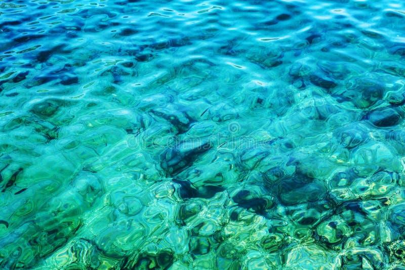 有太阳强光的透明绿松石海 背景特写镜头 r 免版税图库摄影