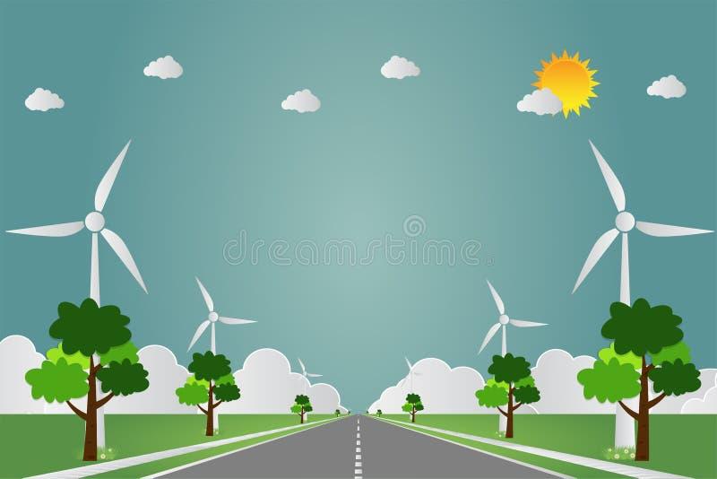 有太阳清洁能源的风轮机有路环境友好的概念想法 也corel凹道例证向量 库存例证