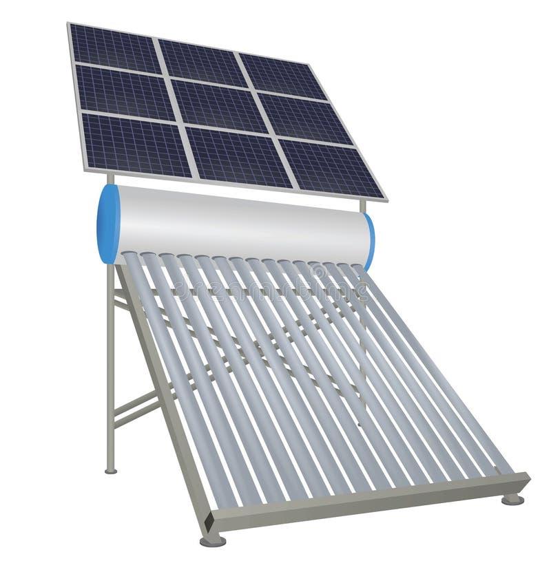 有太阳电池板的太阳管子加热器 向量例证
