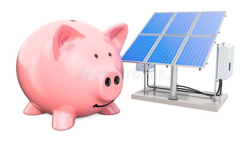 有太阳电池板的存钱罐 保存的能源消耗概念,3D翻译 库存例证