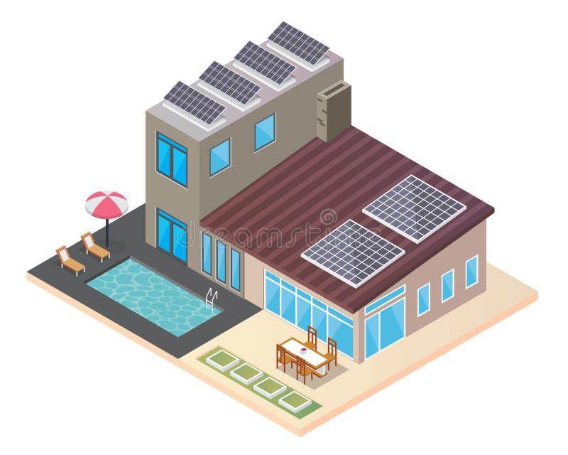 有太阳电池板的现代豪华等量绿色Eco友好的议院 皇族释放例证