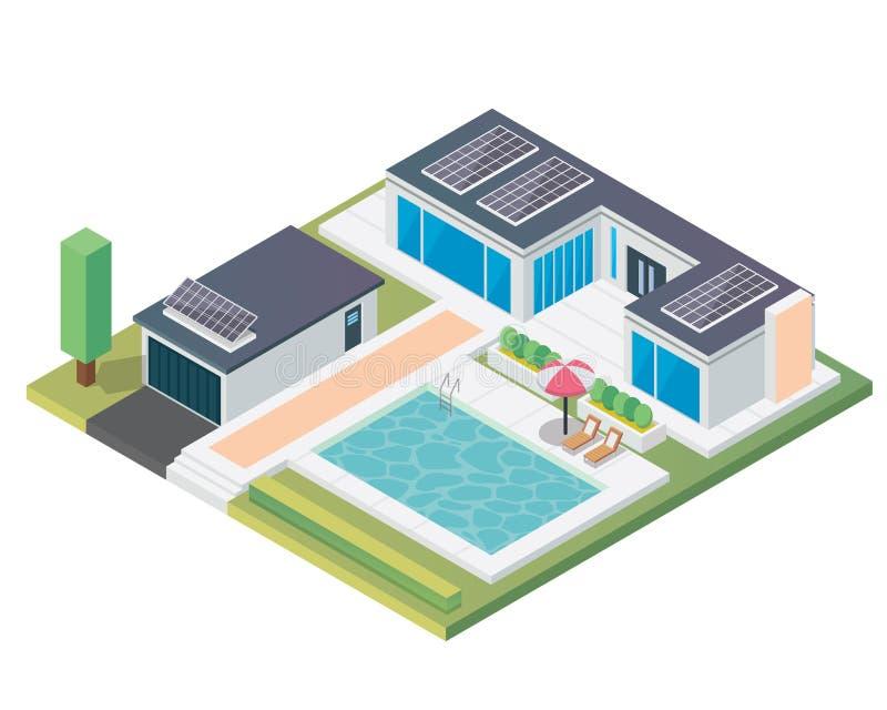 有太阳电池板的现代豪华等量绿色Eco友好的议院 库存例证