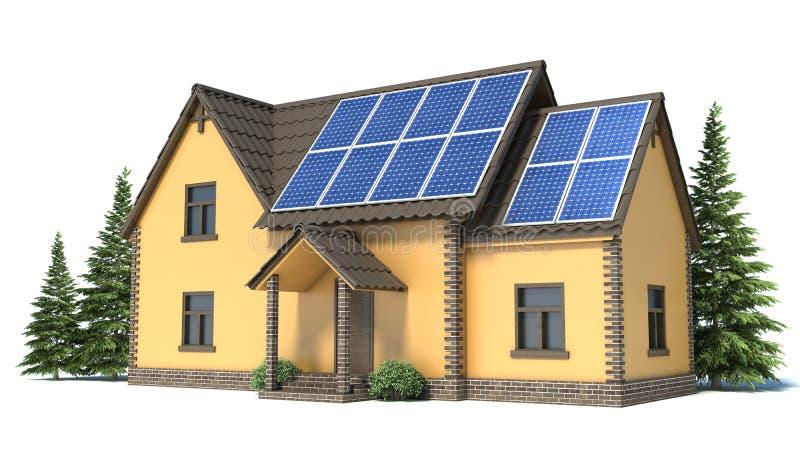 有太阳电池板的议院 向量例证
