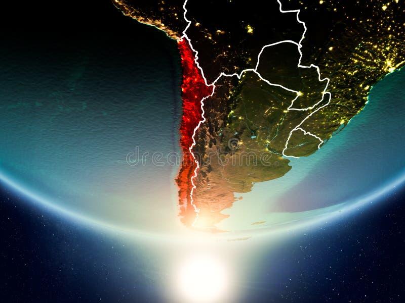 有太阳的智利行星地球上 向量例证