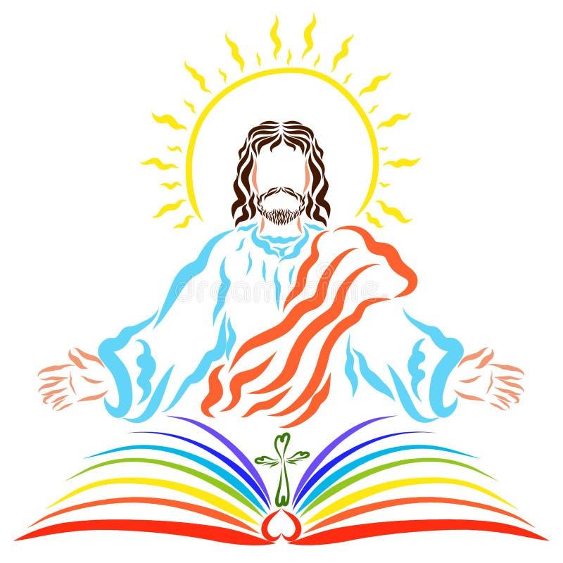有太阳的耶稣在他的头和一本书上与十字架为 皇族释放例证