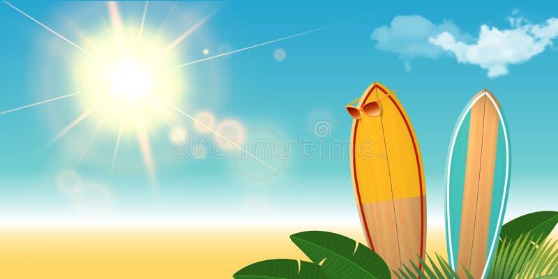 有太阳镜的两个冲浪板在海滩 与云彩和太阳火光的现实背景 棕榈叶 库存例证