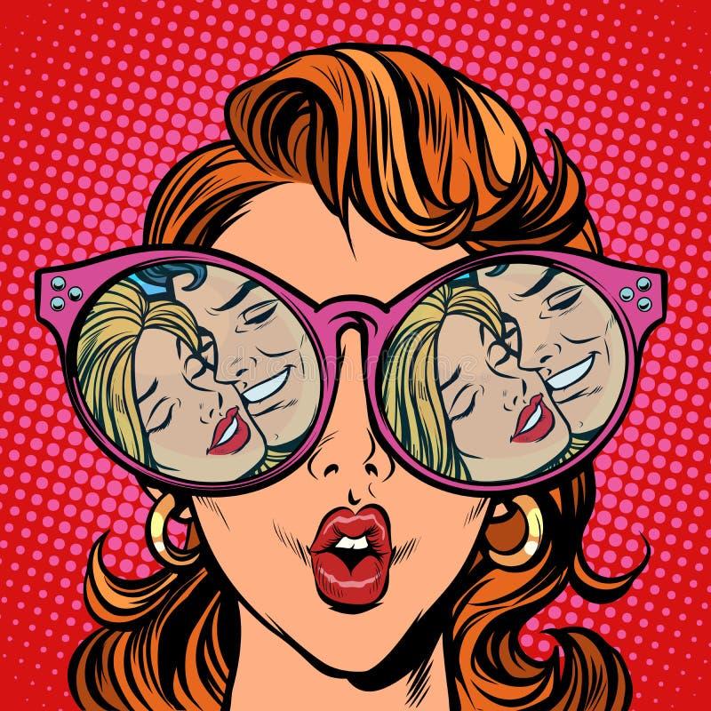 有太阳镜的妇女 爱恋的夫妇面孔亲热反射 皇族释放例证