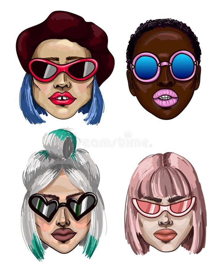 有太阳镜的时髦时尚女孩 太阳镜和面孔的另外类型 也corel凹道例证向量 向量例证