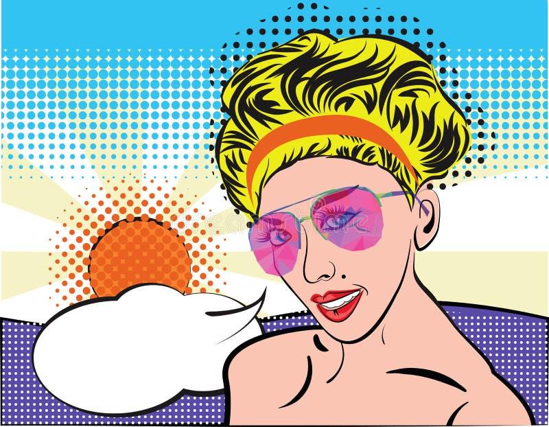 有太阳镜的流行艺术妇女在夏天海滩,可笑的样式 与讲话泡影,太阳的白肤金发的葡萄酒女孩面孔和 向量例证