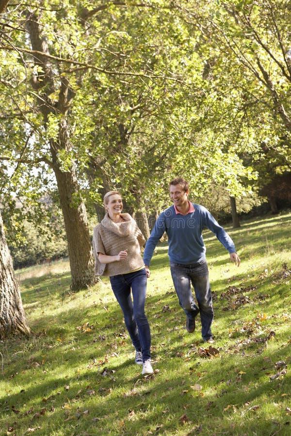 有夫妇的乐趣公园年轻人 图库摄影
