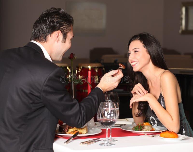 有夫妇的正餐浪漫 库存照片