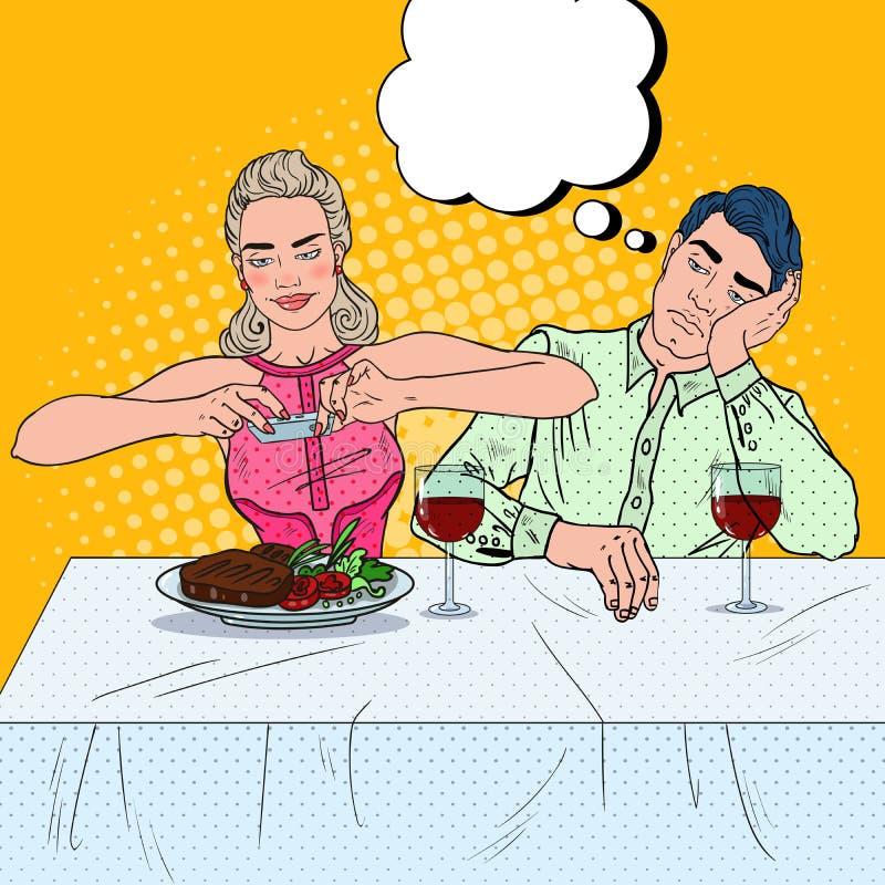 有夫妇的正餐餐馆 拍食物的照片妇女 流行艺术例证 向量例证