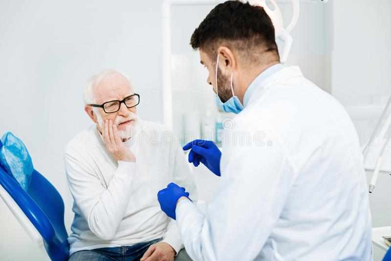有失望的人牙齿会议 库存照片