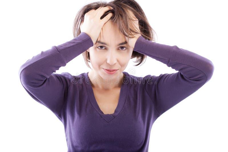 有头疼的女孩 免版税库存图片