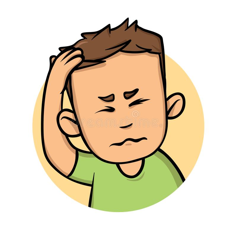 有头疼的年轻人,握手的人对他的头 平的设计象 平的传染媒介例证 查出在白色 库存例证