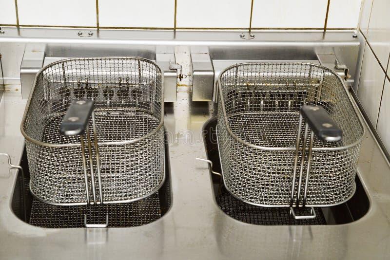 有夹子的两个金属深炸锅在厨房里 免版税库存图片