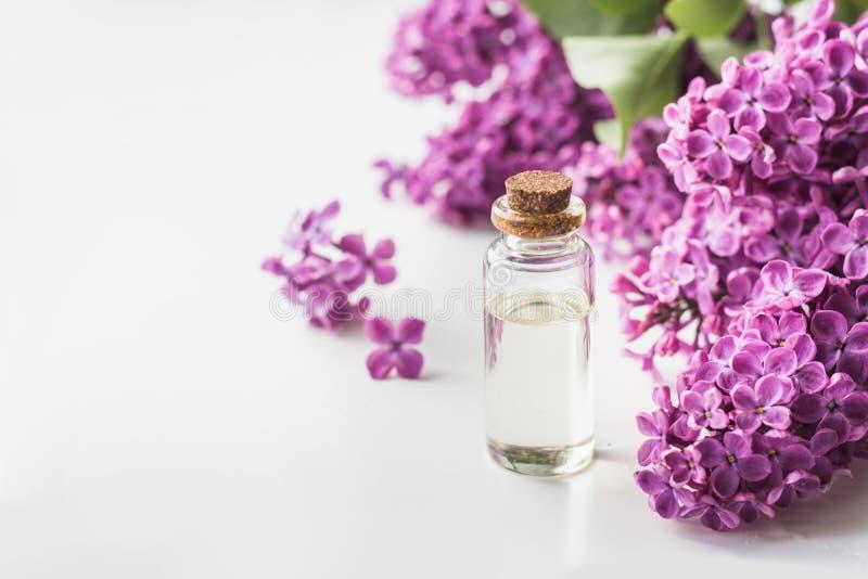 有奉承话和丁香的玻璃瓶子开花,文本的拷贝空间 温泉和芳香疗法的概念 关闭 免版税库存照片