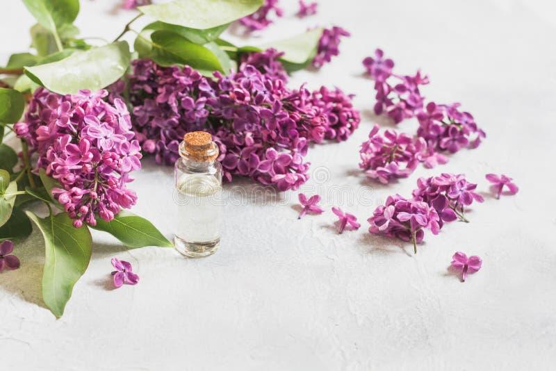 有奉承话和淡紫色花的,文本的空间玻璃瓶子 关闭 温泉和芳香疗法的概念 库存图片