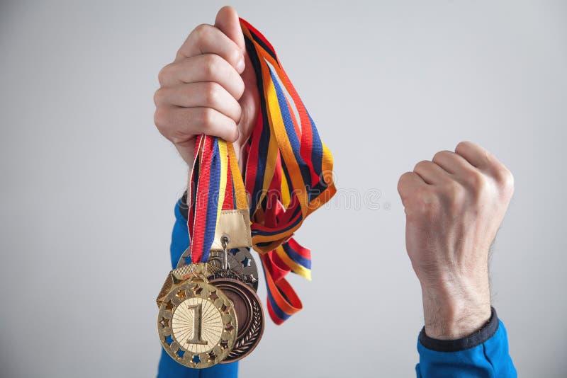 有奖牌的运动员 体育,优胜者,成功 图库摄影