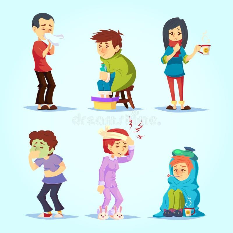 有套不适的人民不适冷的流感的感受,动画片样式传染媒介例证 库存例证