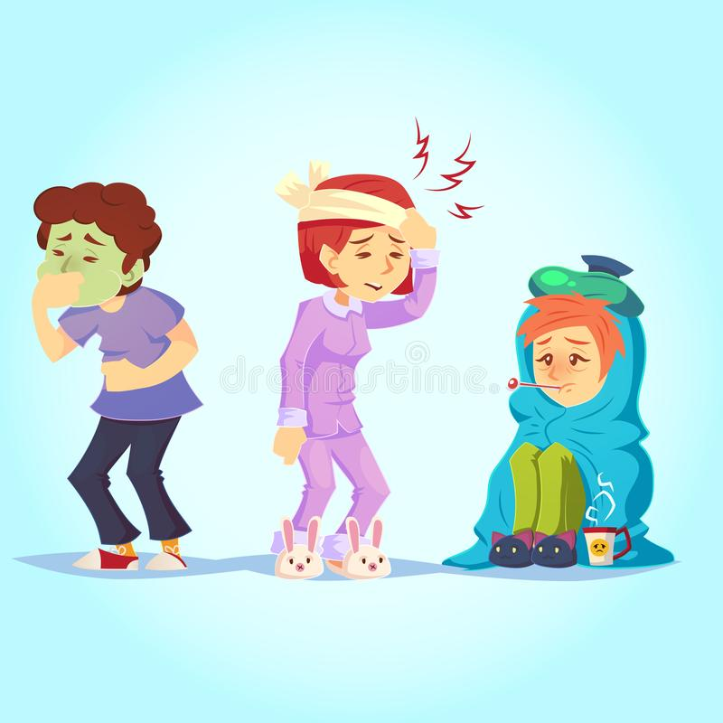 有套不适的人民不适冷的流感的感受,恶心头疼温度动画片样式传染媒介例证 库存例证