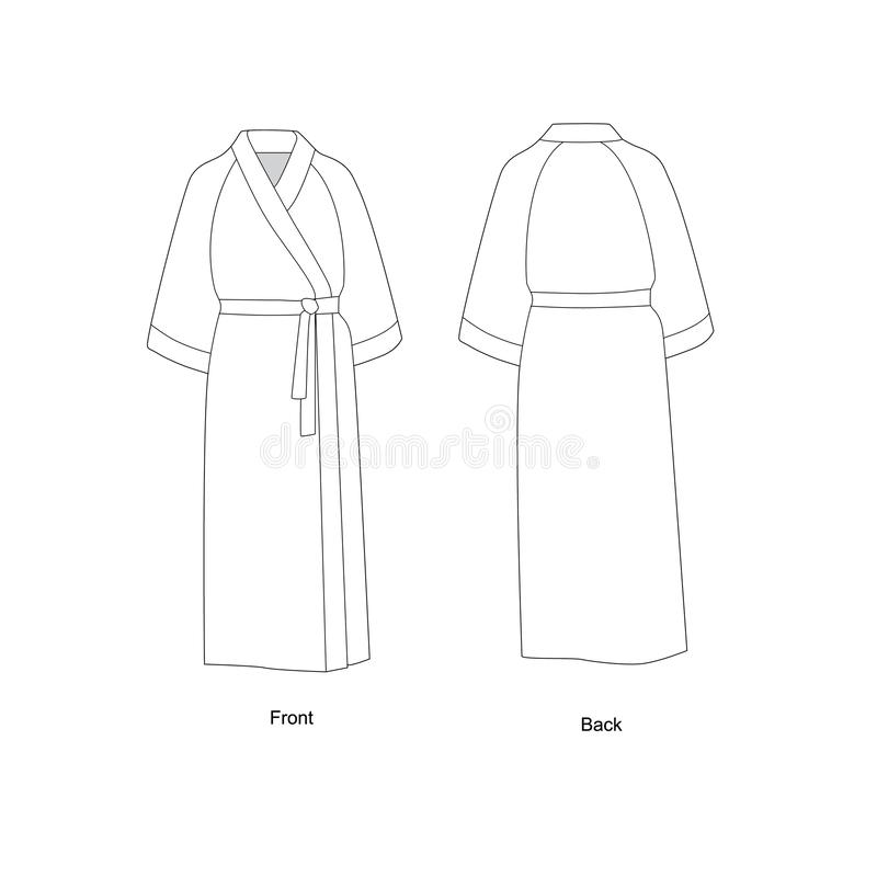 有套袖的长的浴袍 浴巾技术画的传染媒介 库存例证