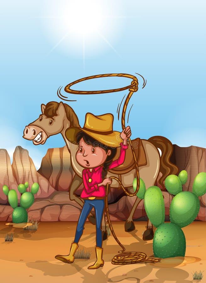 有套索的女牛仔在沙漠 库存例证