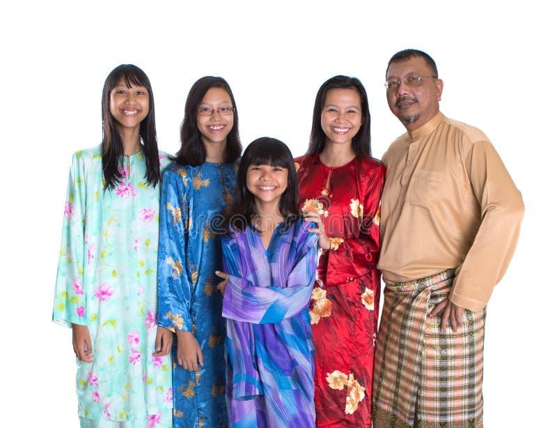 有女儿的亚裔马来的父母我 免版税库存图片