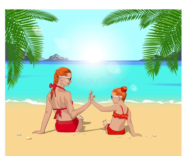 有女儿的母亲海滩的 库存例证