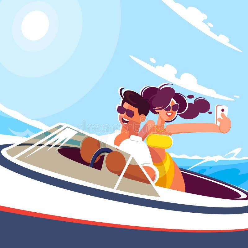 有女孩乘驾的年轻人在海的一条小船在一个晴朗的夏日 女孩在移动做与她的男朋友的selfie 皇族释放例证