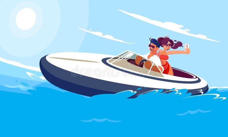 有女孩乘驾的年轻人在海的一条小船在一个晴朗的夏日 女孩在移动做与她的男朋友的selfie 向量例证