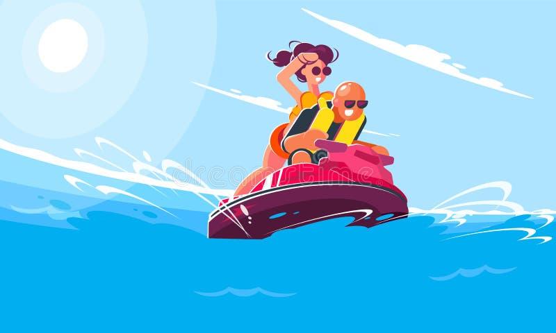 有女孩乘驾的快乐的年轻人在海的水滑行车在一个晴朗的夏日 微笑的平的样式例证 向量例证