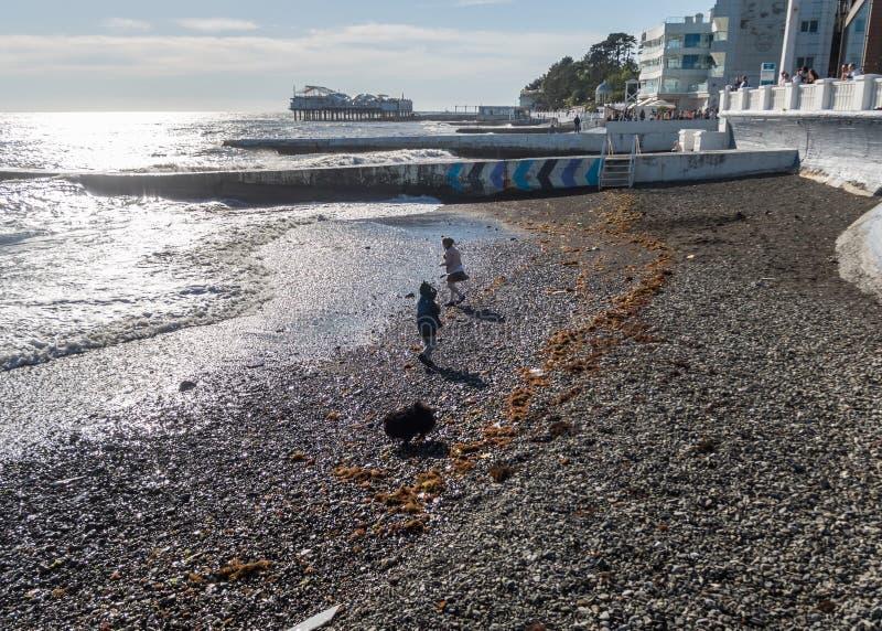 有女孩的一个男孩和沮丧在海滩使用黑海俄罗斯索契 免版税库存照片