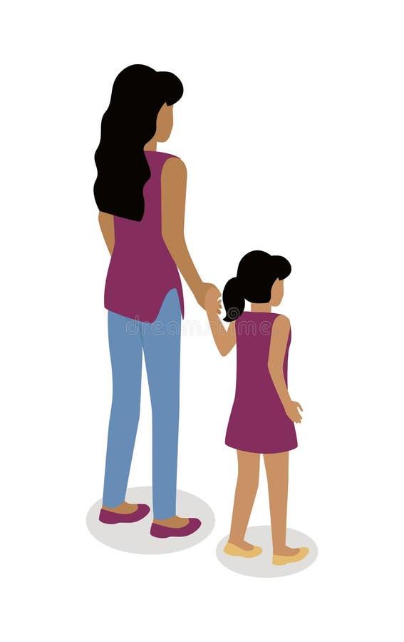 有女孩等角投影传染媒介象的妇女 向量例证