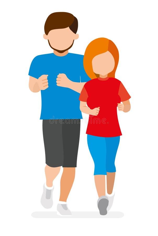 有女孩赛跑的人 年轻运动员 库存例证