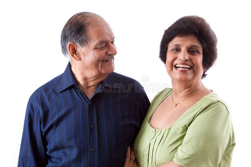 有她的丈夫的东印度人年长妇女 库存照片
