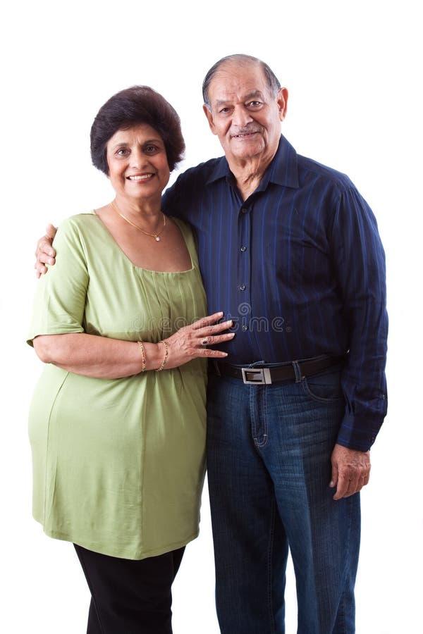 有她的丈夫的东印度人年长妇女 库存图片