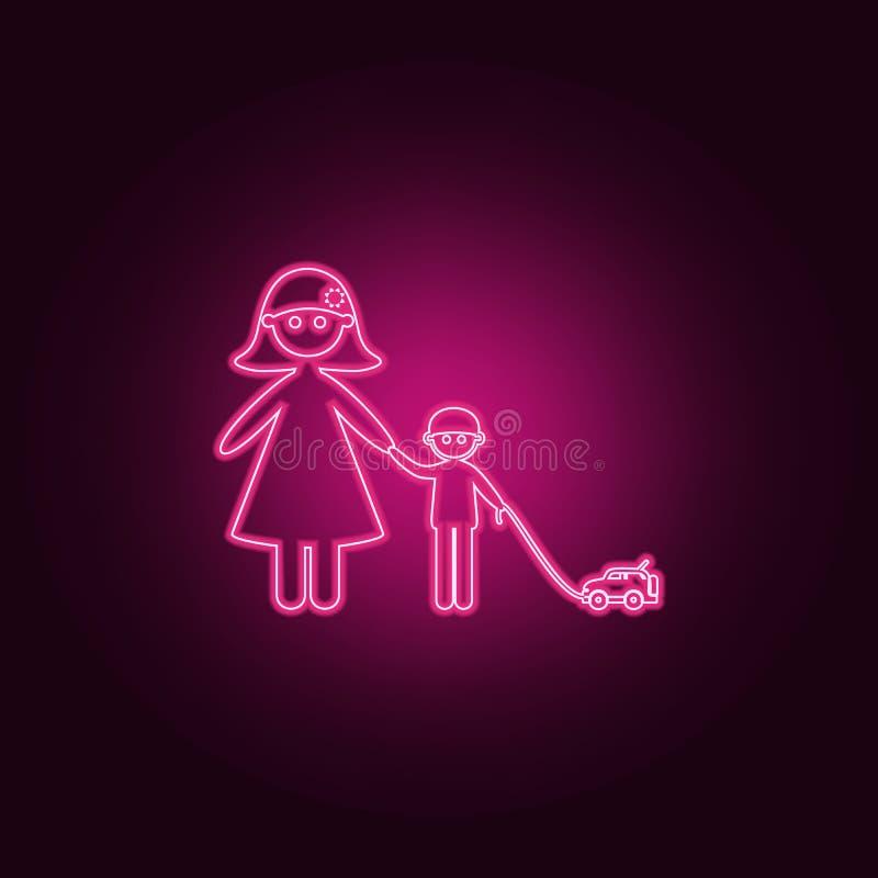 有她的儿子的母亲步行象的 家庭的元素在霓虹样式象的 网站的简单的象,网络设计,流动应用程序,信息 库存例证