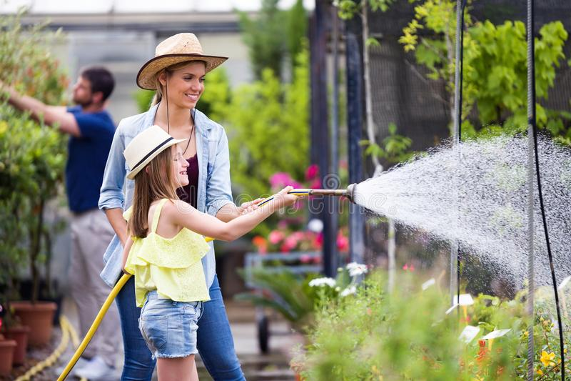 有她的浇灌有一个水管的女儿的美丽的少妇植物自温室 免版税库存图片