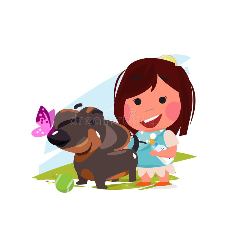 有她的狗的逗人喜爱的女孩 宠物恋人概念 达克斯猎犬传染媒介 皇族释放例证