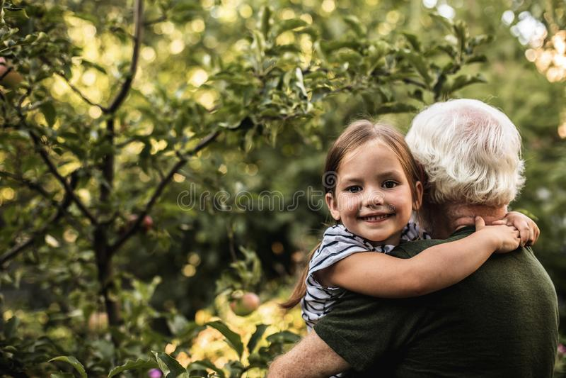 有她的祖父的俏丽的女孩在庭院里 免版税库存图片