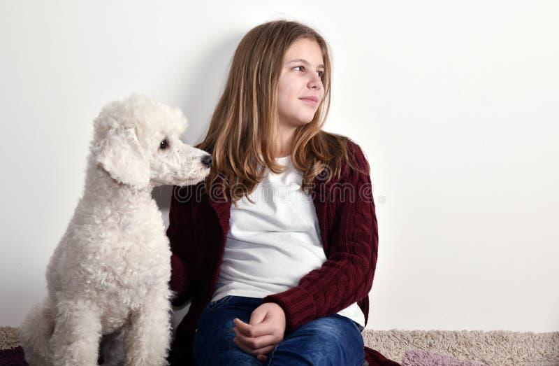 有她的长卷毛狗的美丽的十几岁的女孩 库存照片