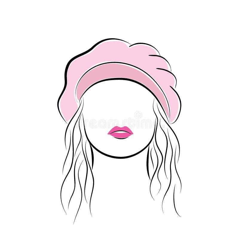 有她的头发的美丽的少妇在一顶桃红色贝雷帽 导航您的设计的时尚剪影手中图画样式 EPS10 库存例证