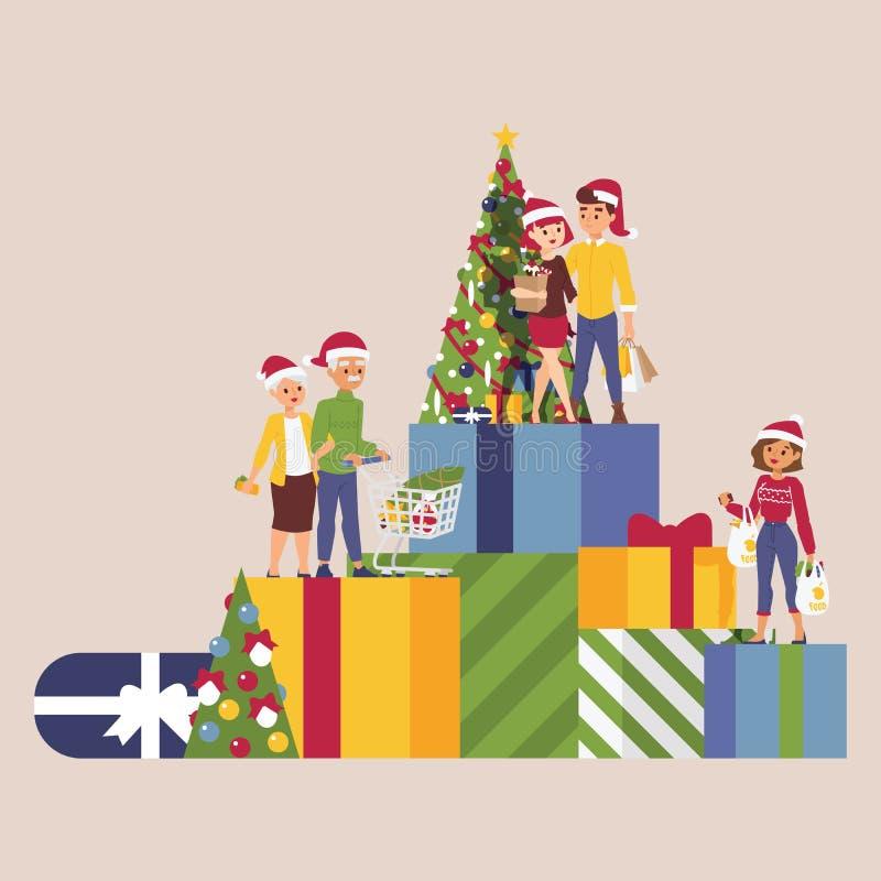 有妇女一起礼物盒购物袋的圣诞节冬天销售传染媒介愉快的微笑有家室的人2019 Xmas购物大 库存例证
