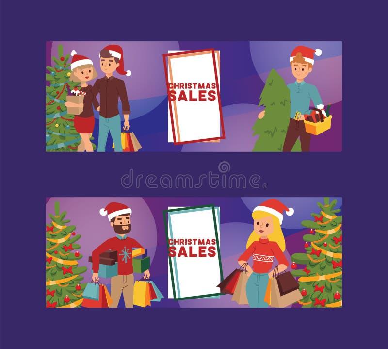 有妇女一起购物袋2019 Xmas购物的大提议的圣诞节冬天销售传染媒介愉快的微笑有家室的人 皇族释放例证