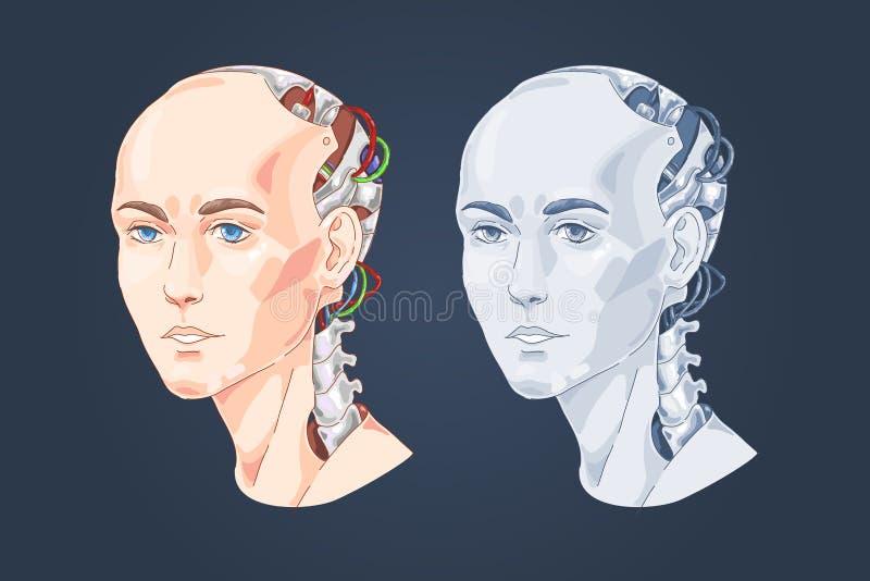 有妇女面孔的巧妙的机器人,人头塑造了计算机,未来派技术,ai,数字创新 库存例证